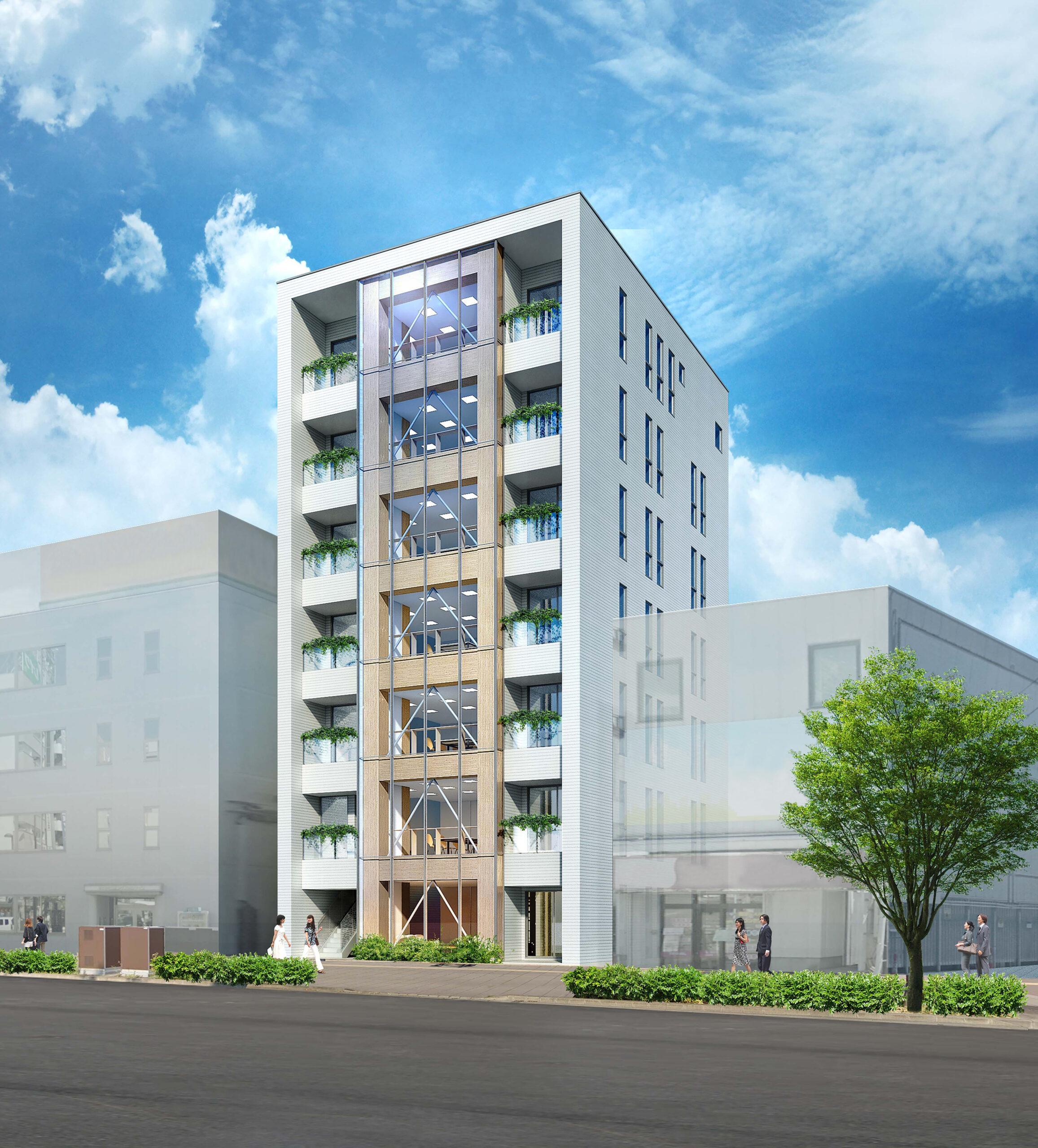 シェルター、仙台に純木造7階建てビル