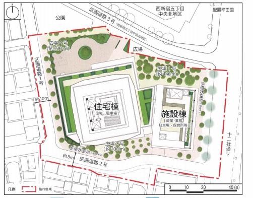 三井不動産レジデンシャルら、西新宿再開発で470戸―地上40階建て、本年度内の着工目指す